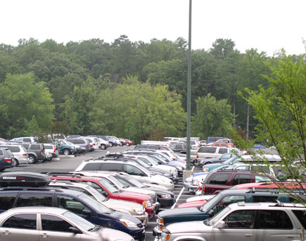 Check out the cars!  Luckily upperclassman are on hand to direct traffic and help families find their residence halls.
